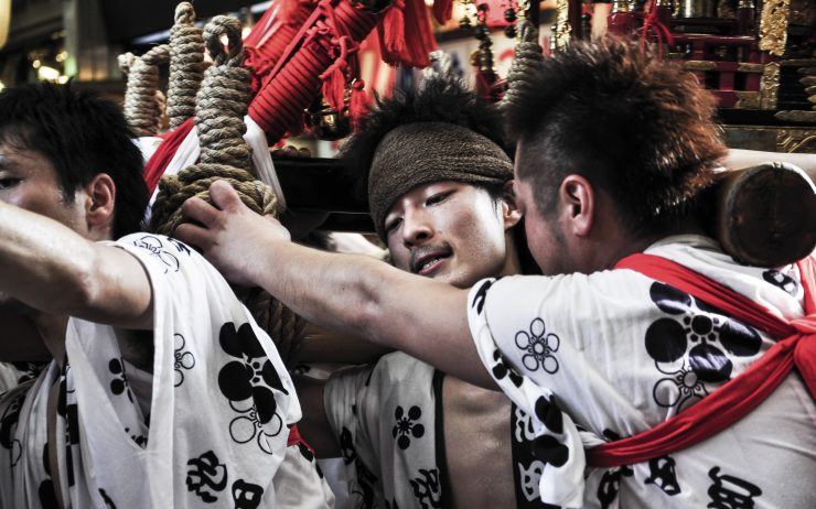 Young men participating in Tenjin Matsuri, Osaka.