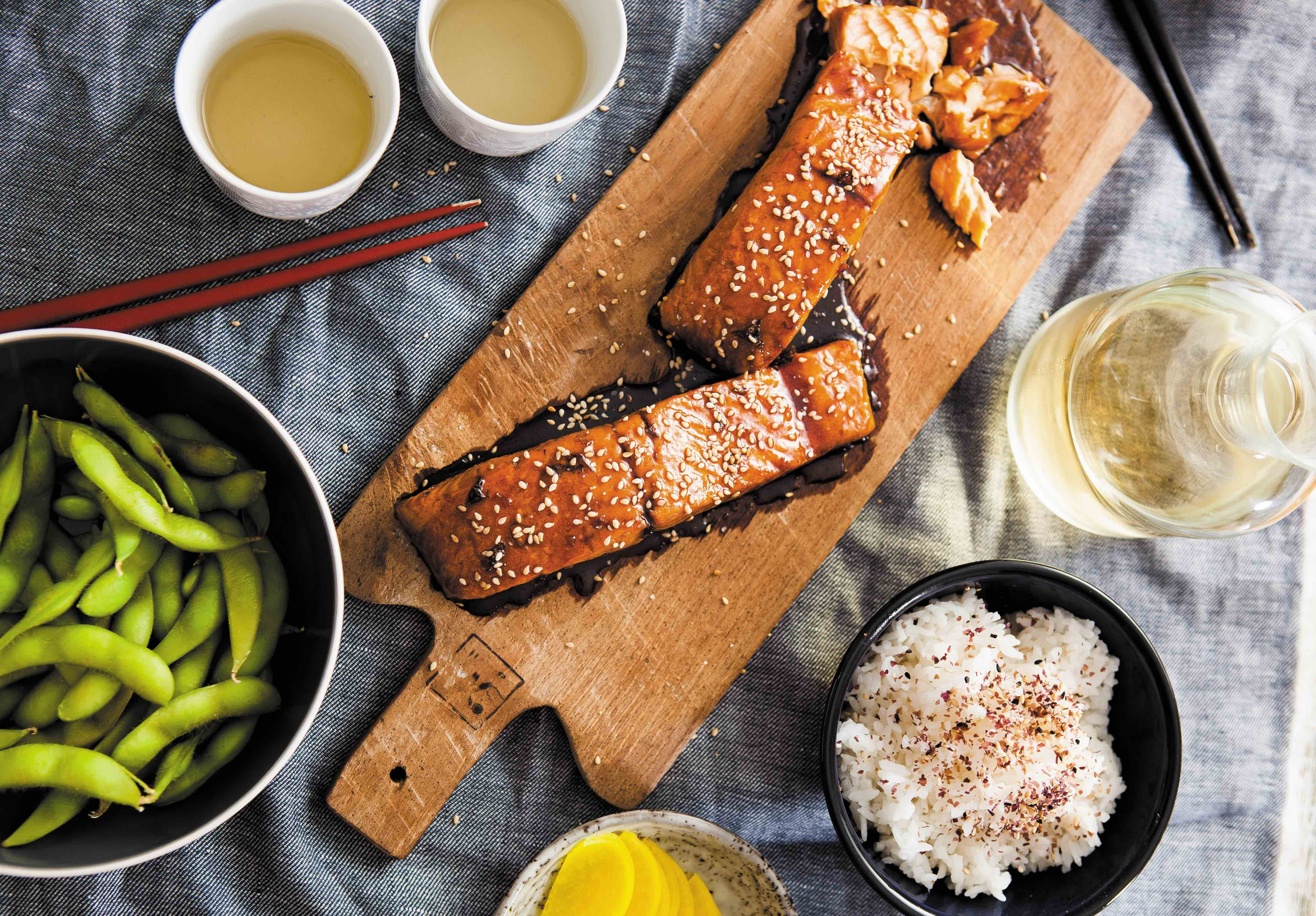 A recipe for salmon teriyaki and miso soup
