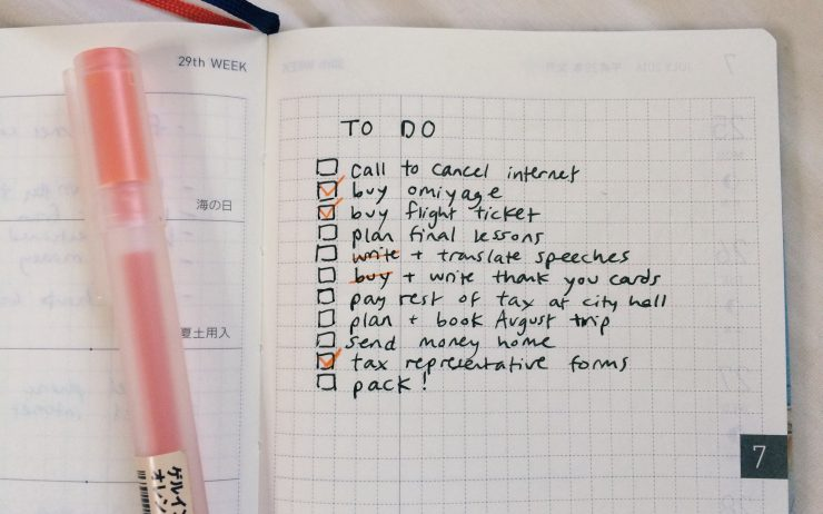 Leaving Japan checklist