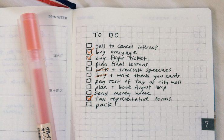 Leaving Japan checklist
