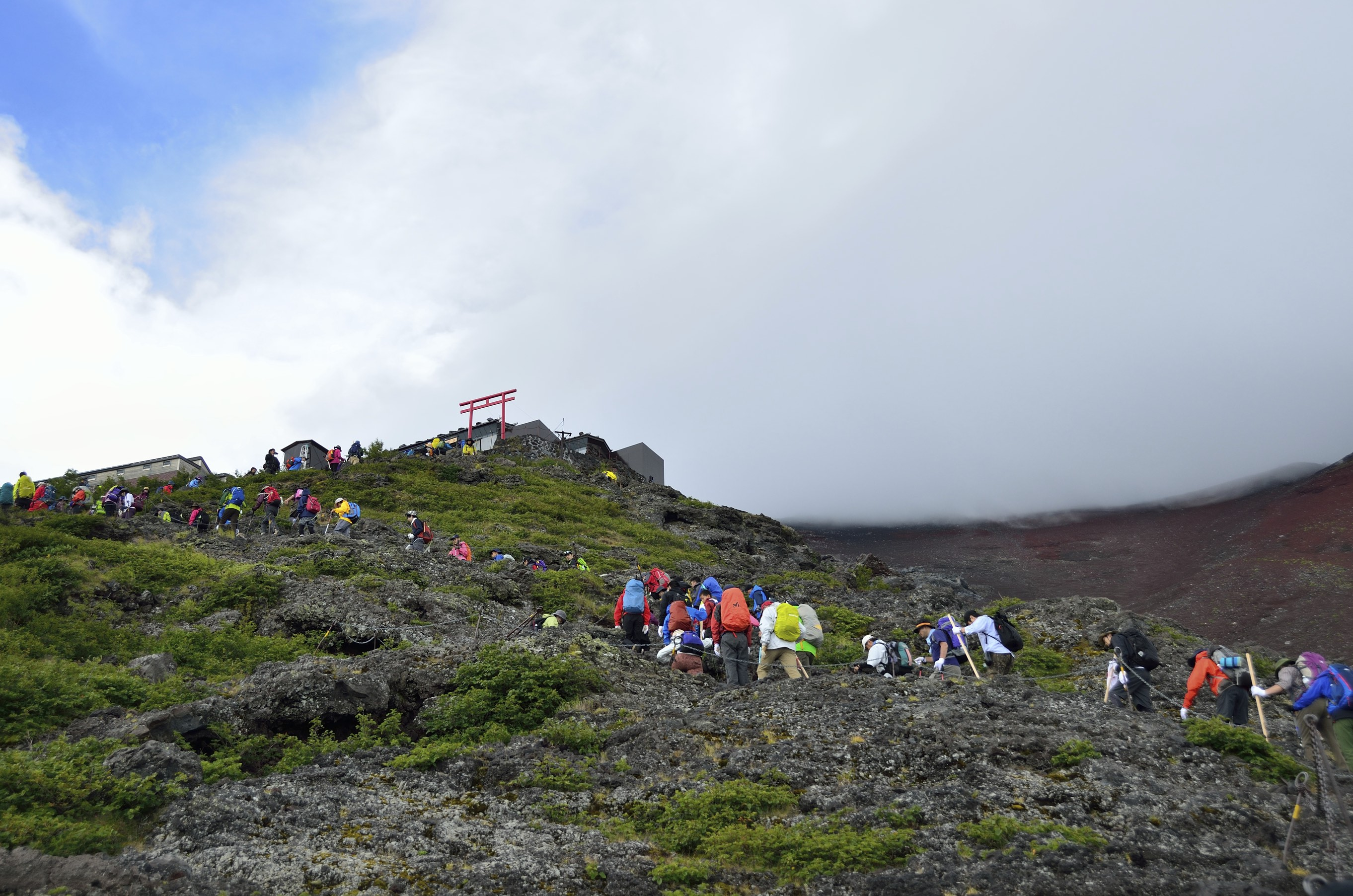 Yamanashi, japan - August 21, 2015: Mt. Fuji climbing,Yoshida Trail from 6th to 7th station. The climbing season of July-August, about 17 million people of climbers visit only in the Yoshida trail.