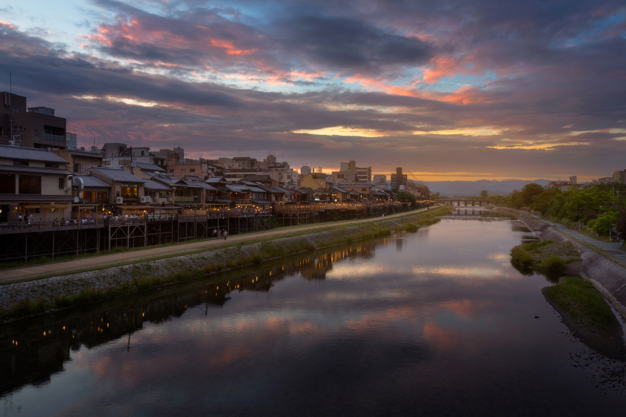 things to do in Kyoto Kamogawa river nearby Gion in Kyoto during sunset