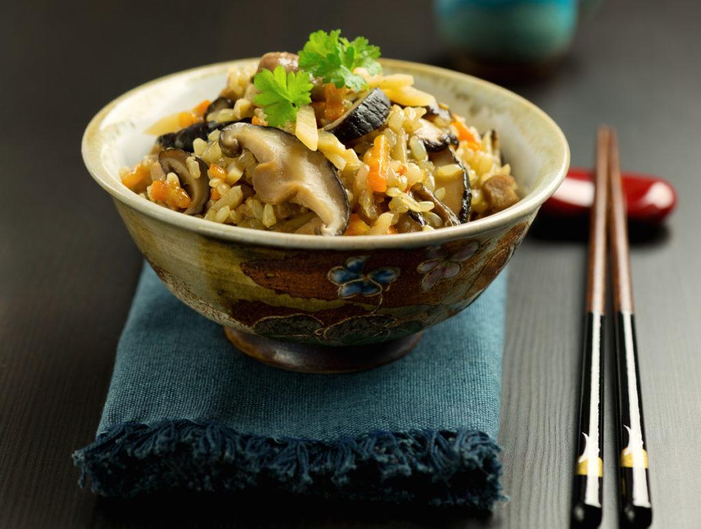 Japanese traditional dish gomoku gohan.