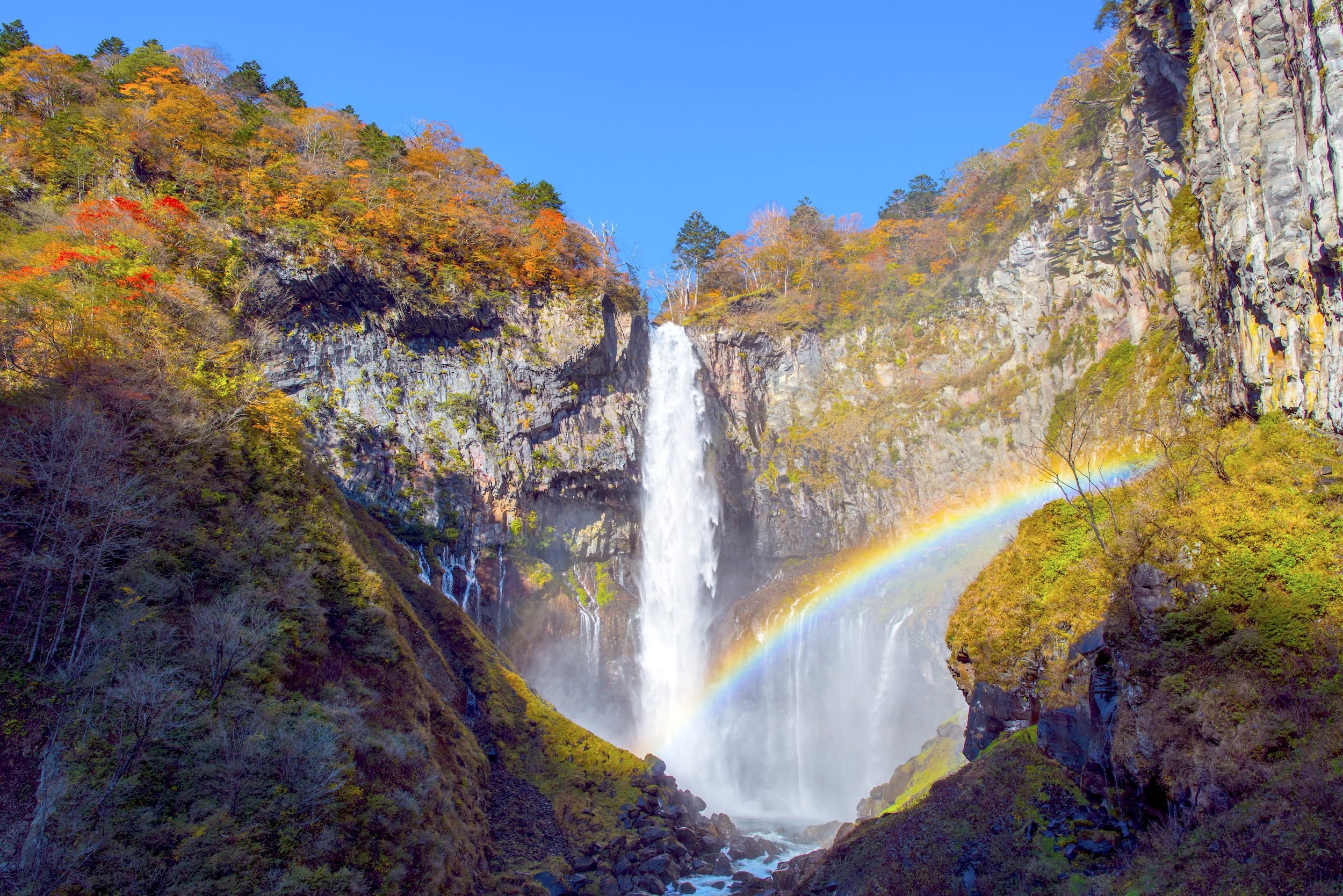 The Kegon Falls in Nikko is one of Japan's top three waterfalls.