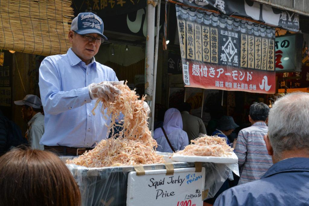 Squid jerky at Tsukiji fish market in Tokyo.