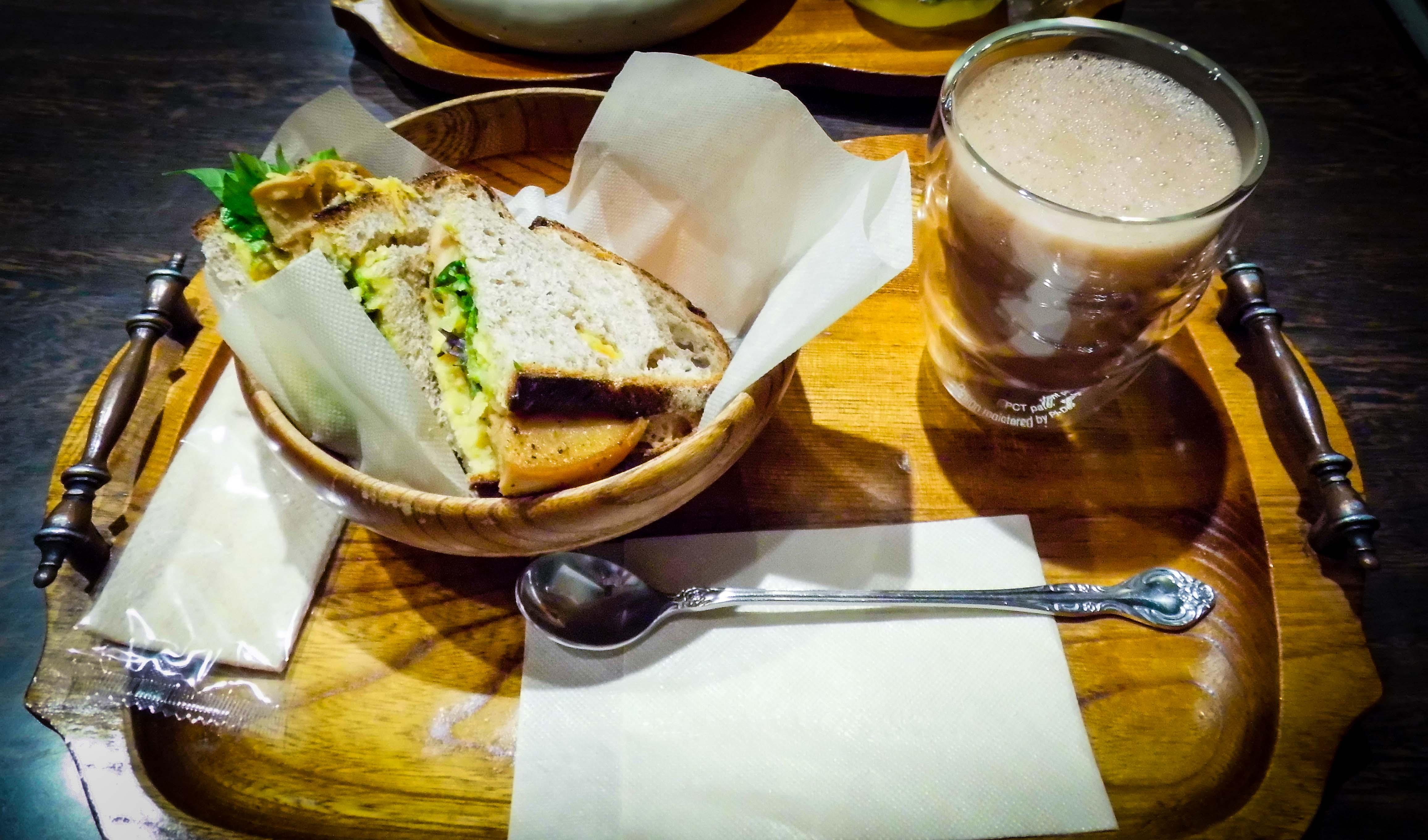 Kissa Saeki vegan katsu sandwich.