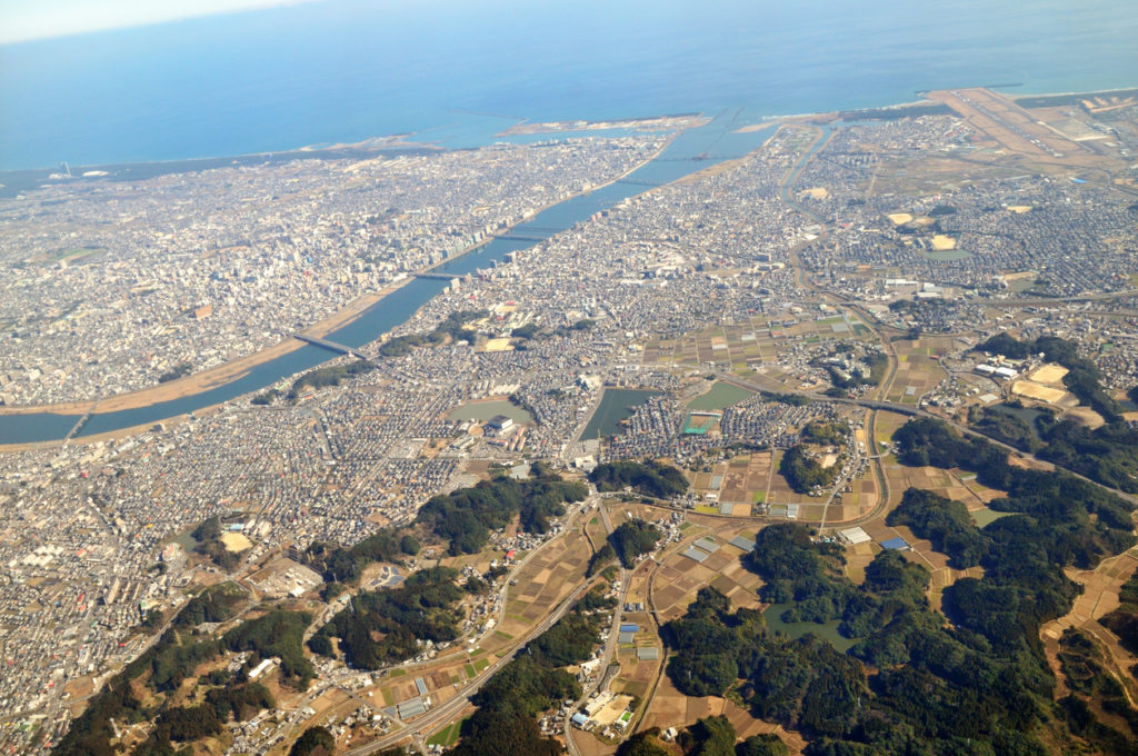 Aerial photograph of Miyazaki City in Miyazaki Prefecture.