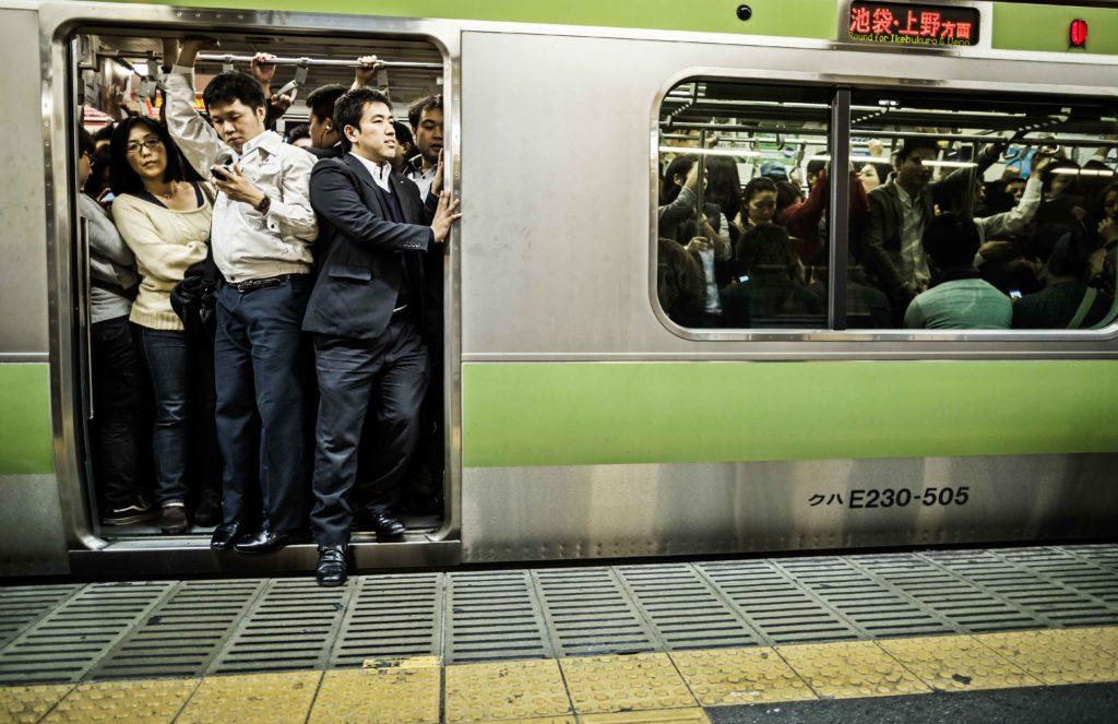 Crowded Yamanote line train