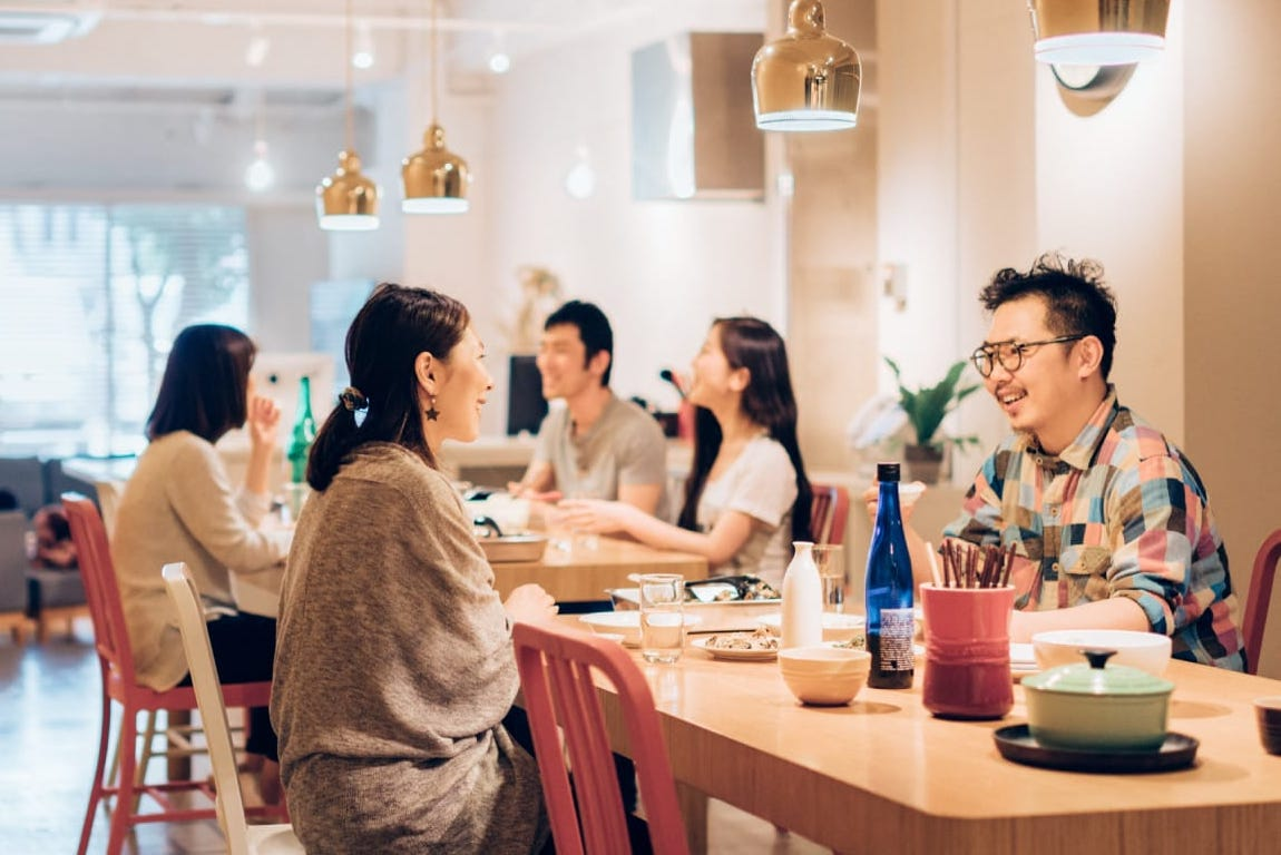 Hotel Graphy Nezu's dining space is perfect for group events.