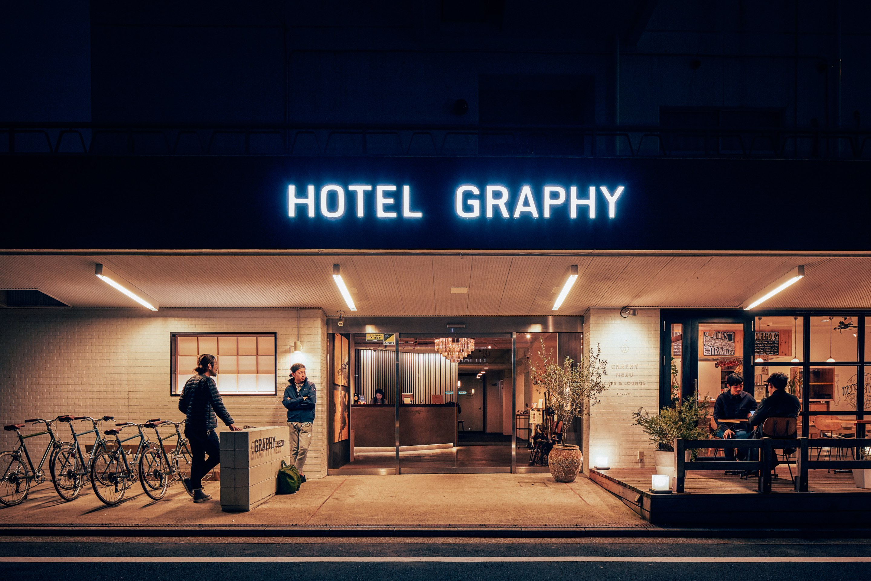 Hotel Graphy Nezu exterior at night