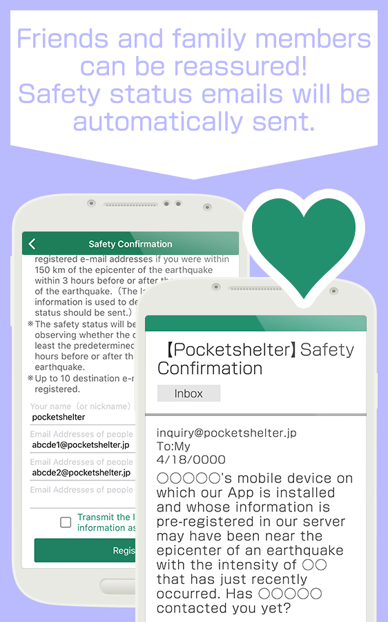 Pocket Shelter's Safety Confirmation feature