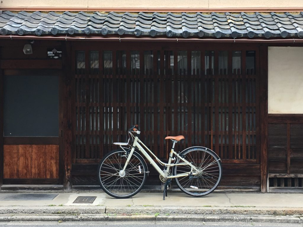 Bicycle outside a Kyoto traditional townhouse