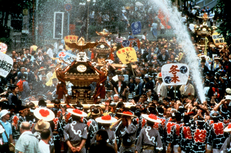 Prepared to get soaked at the Fukagawa Mizukake Festival in Tokyo.