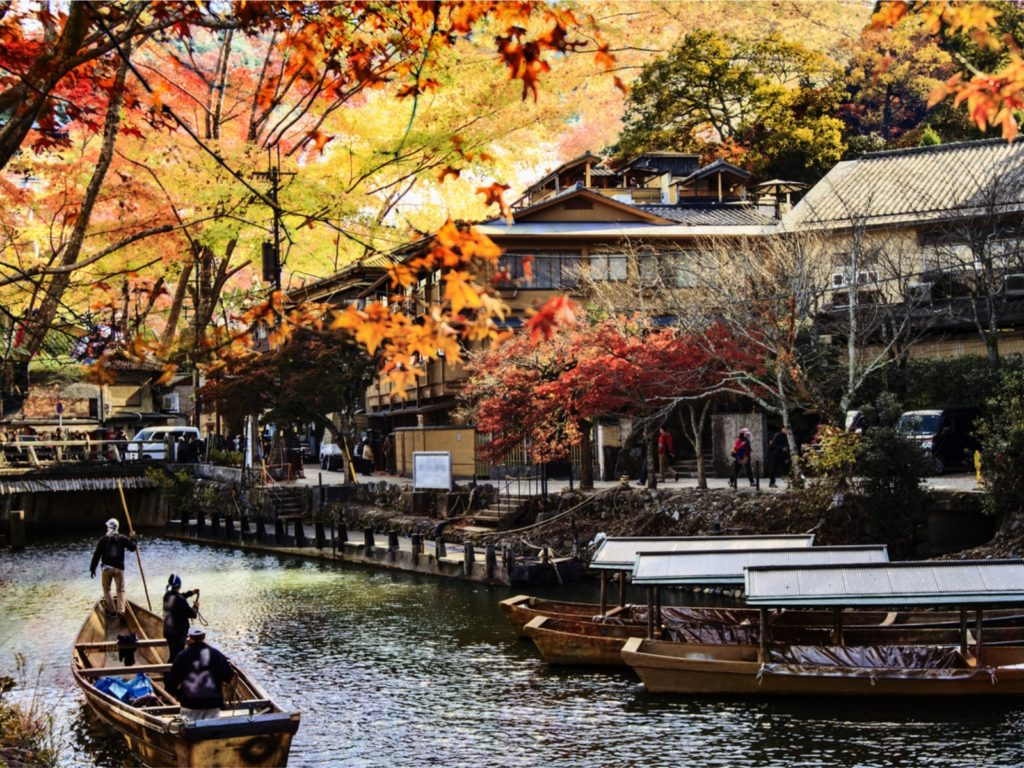 Arashiyama, Kyoto in fall with boats