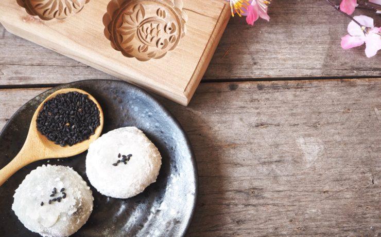 Mochi with sesame Japanese dessert.
