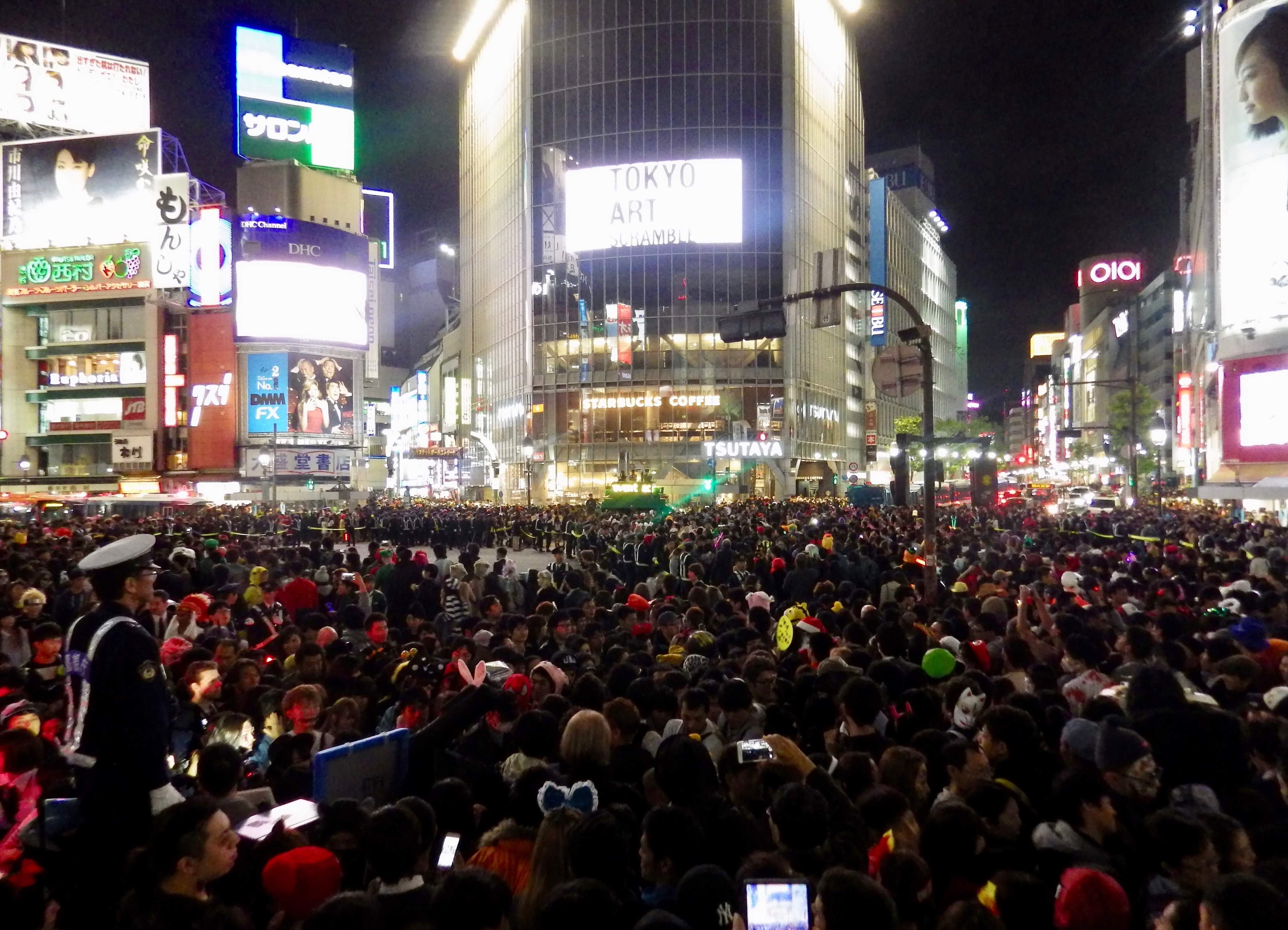 The Shibuya Scramble on Halloween night.