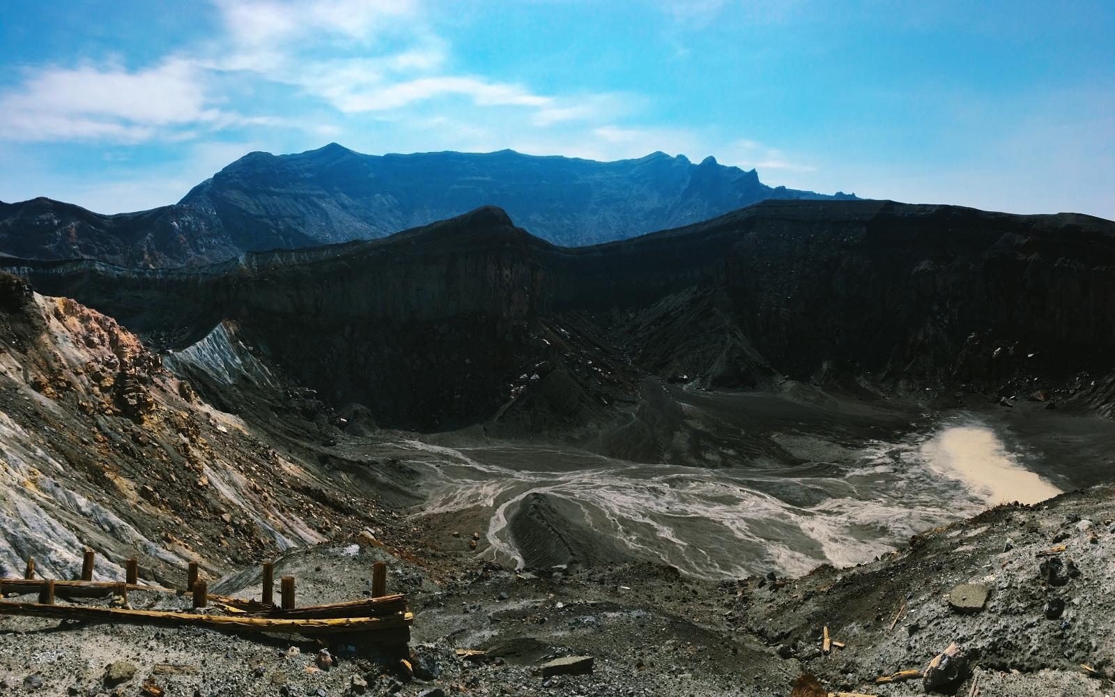 Desolate surroundings of the Nakadake Crater.