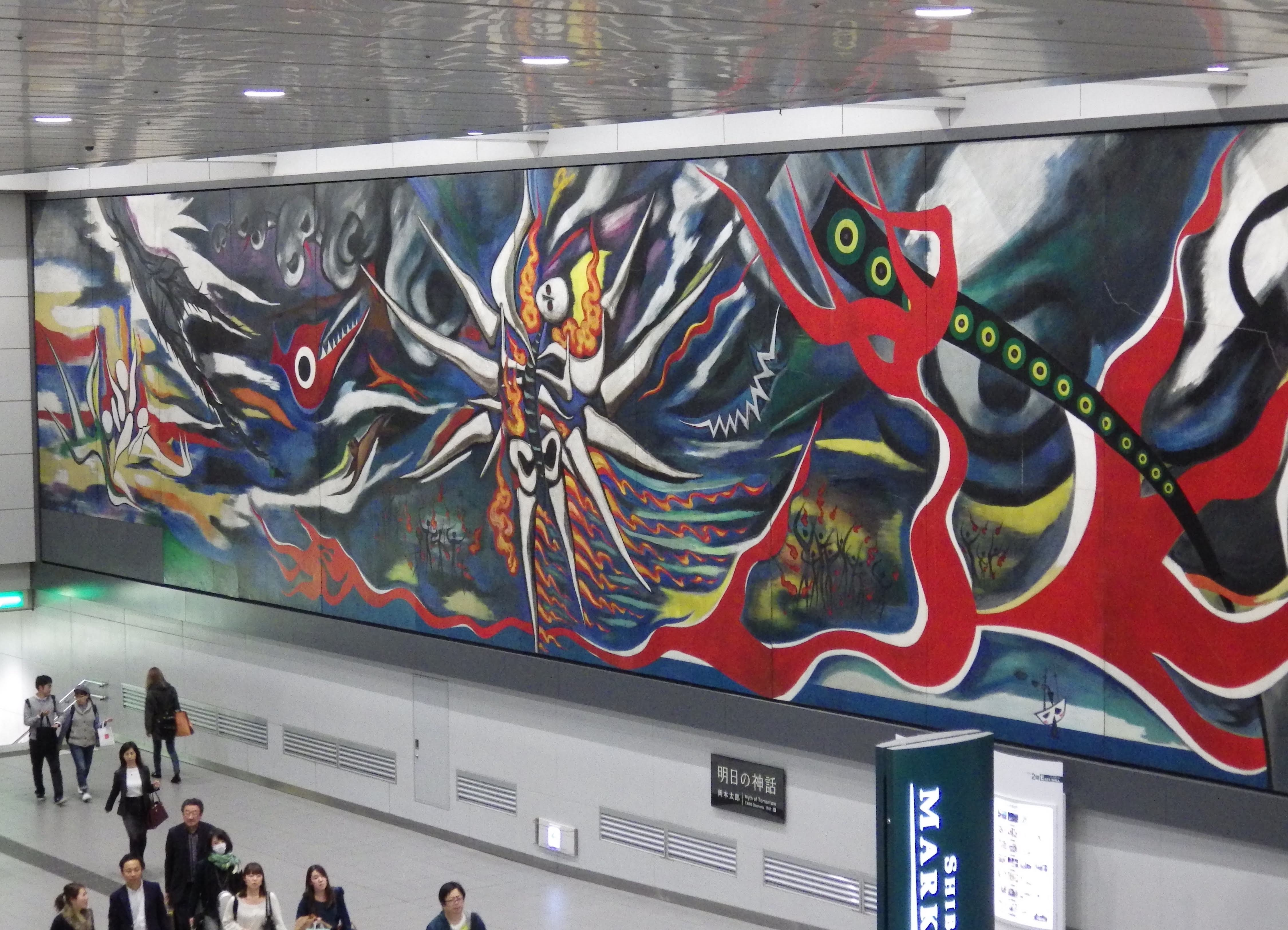Taro Okamoto's mural 'The Myth of Tomorrow' in Shibuya station.