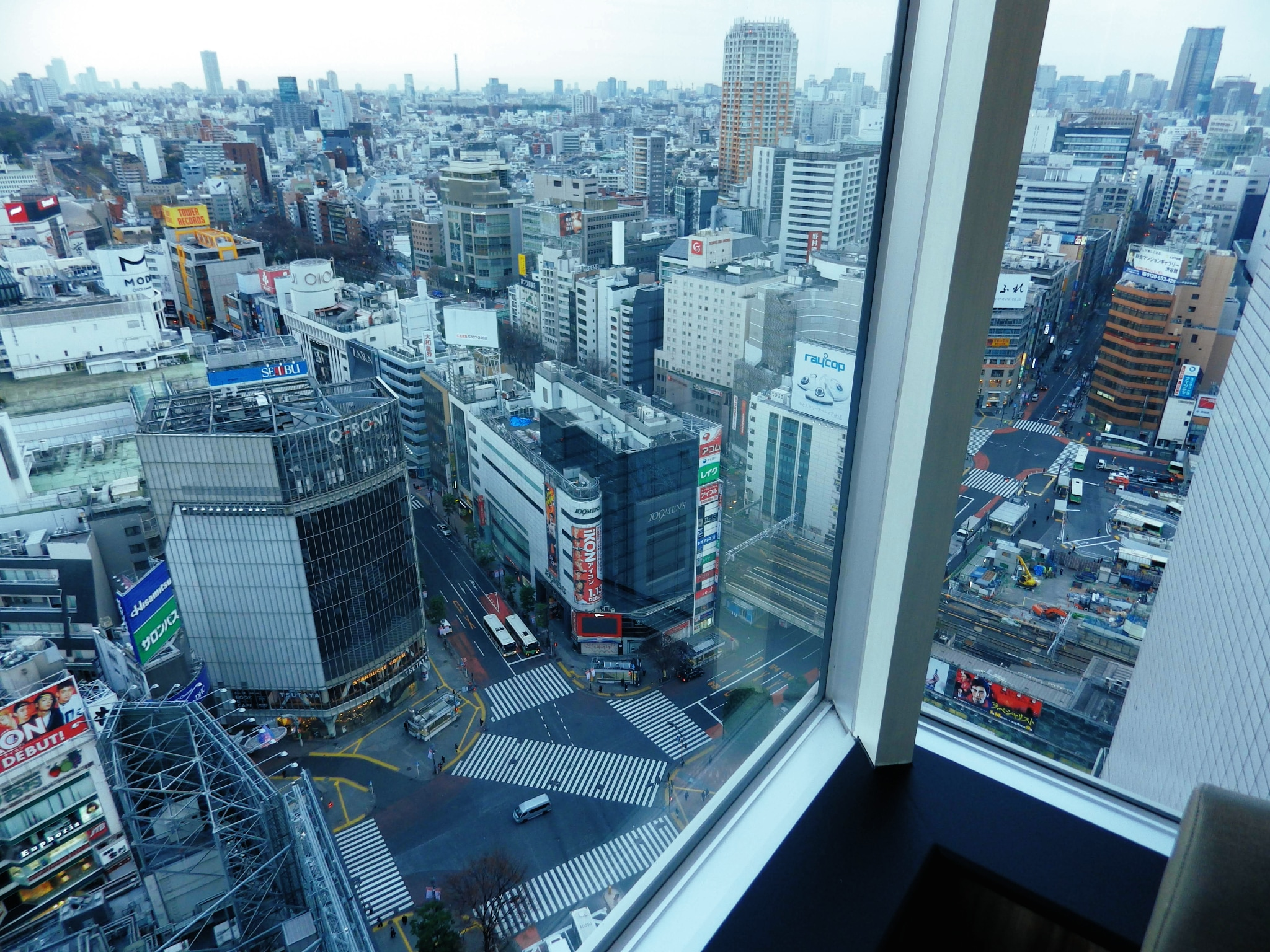 Table-side view from the Shunsai restaurant at the top of Shibuya Excel Hotel Tokyu.