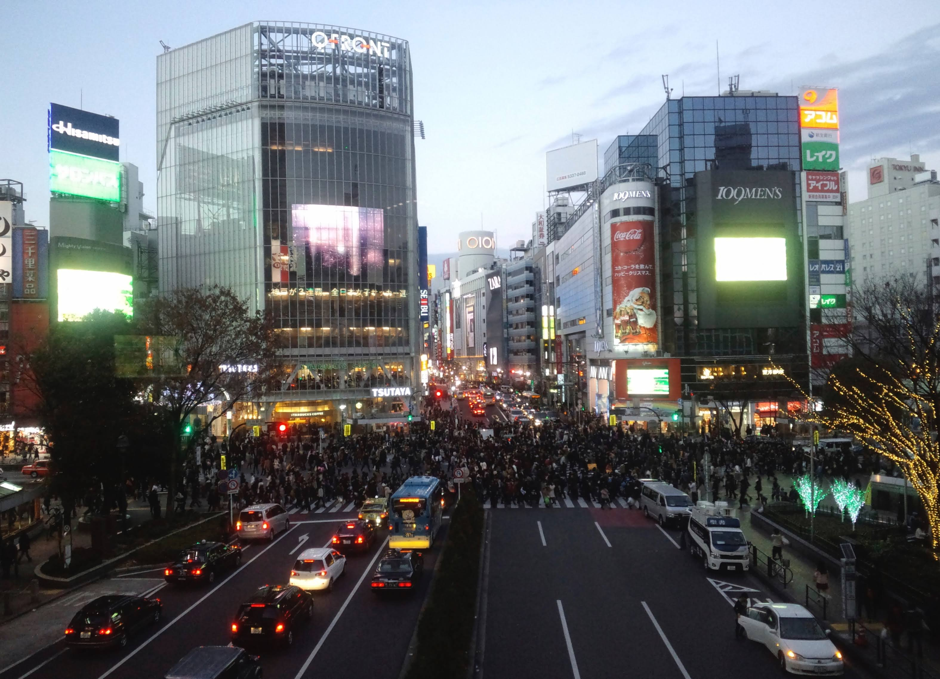 View of the Scramble from the Shibuya Mark City concourse.