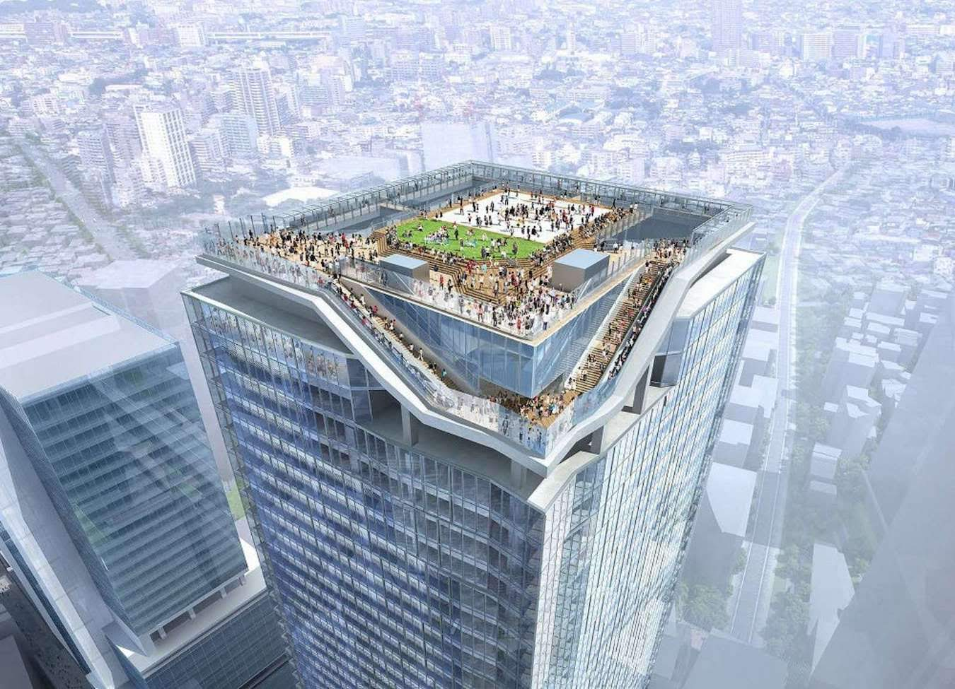 Concept art showing the design of Shibuya's 230-meter observation deck.