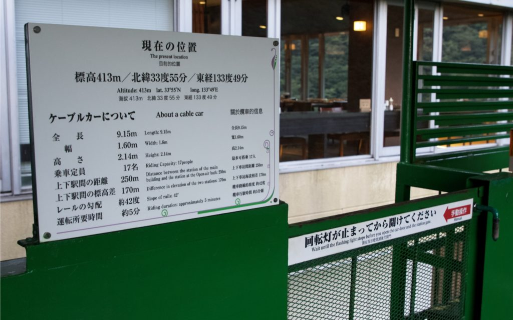 Cable Car entrance with sign Hotel Iya Onsen