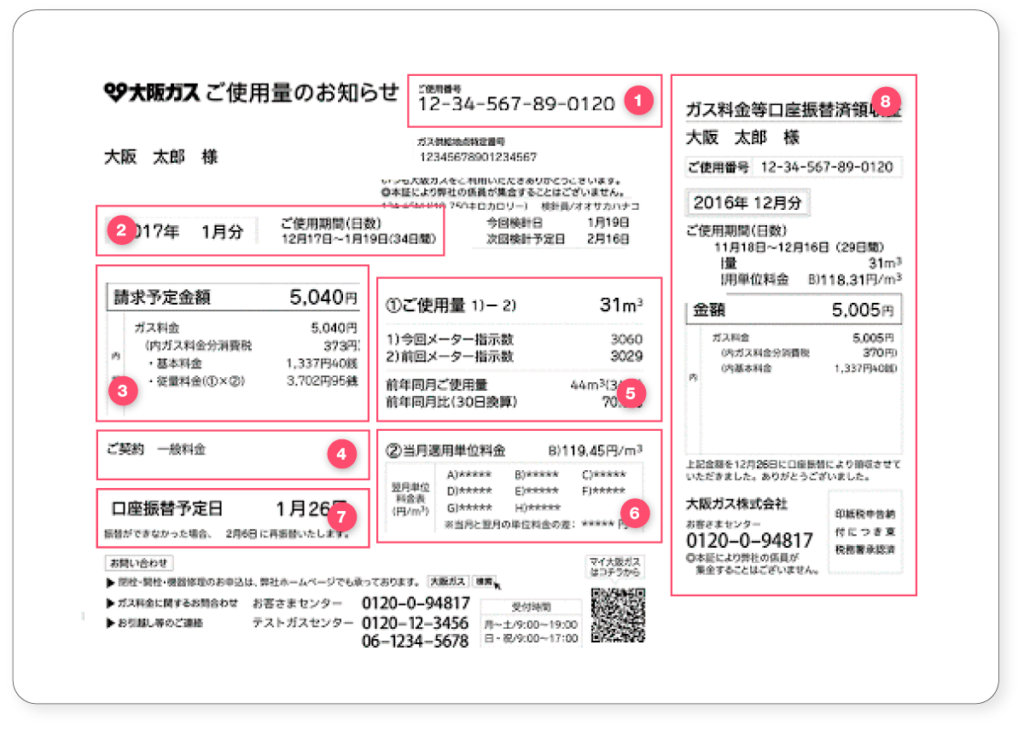 How to read your Japanese gas bill