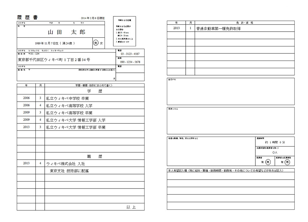 What a Japanese resume looks like