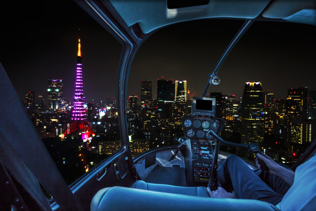A helicopter ride over Tokyo offers spectacular views