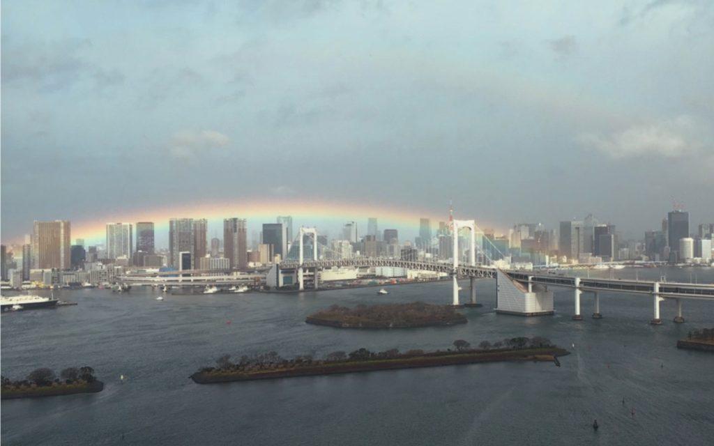 Real Rainbow Lines Up with Tokyo's Famous Rainbow Bridge