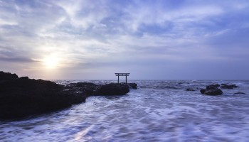 Shrine gateway on Oarai coast at sunrise, Ibaraki, Japan.