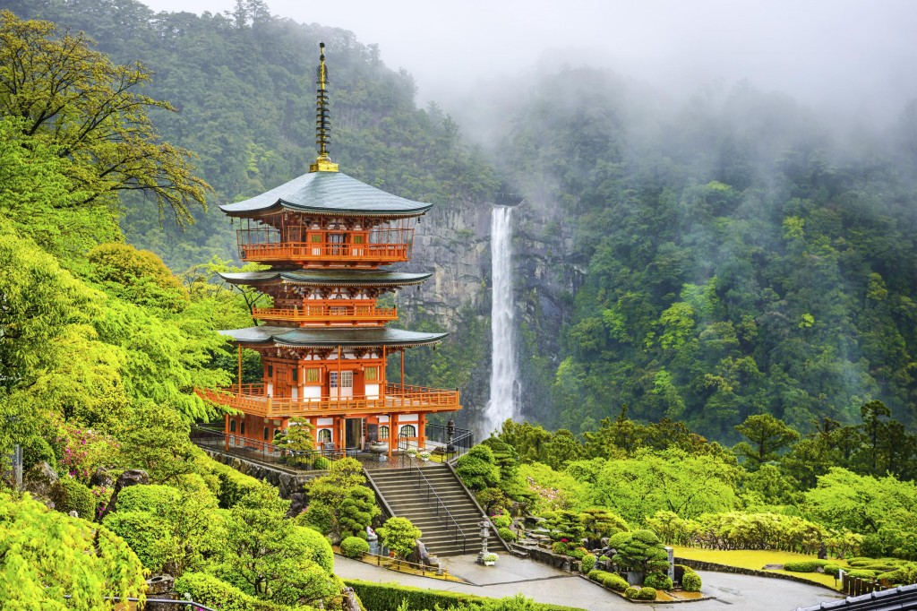 Nachi, Japan at the pagoda of Seigantoji and Nachi no Taki waterfall, Wakayama Prefecture