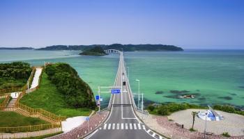 Shimonoseki, Yamaguchi Prefecture, Japan at Tsunoshima Bridge over the Sea of Japan.