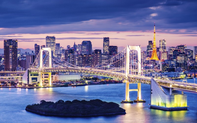 View of Rainbow Bridge and Minato, from Odaiba in Tokyo