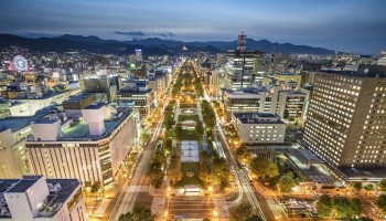 Sapporo, Japan downtown city skyline at Odori Park.