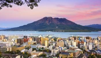 Kagoshima, Japan with Sakurajima Volcano.
