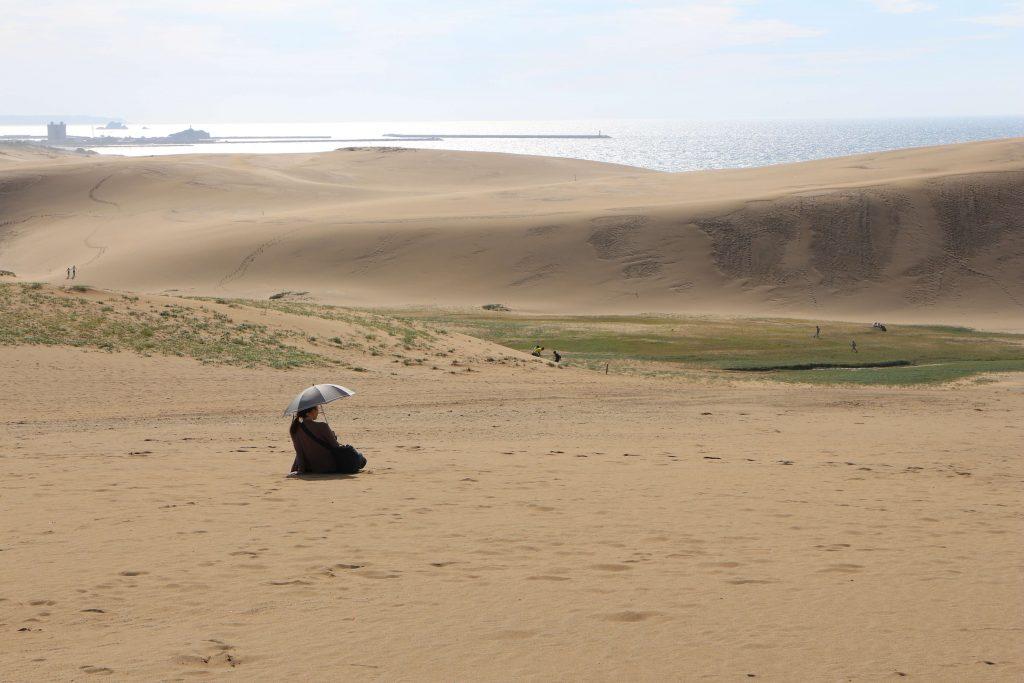 Women on the sand dunes in Tottori