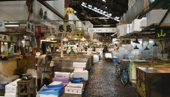 Tokyo, Japan - June 4, 2015: Retailers busy selling and packing seafood in Tsukiji market. It is the largest fish market in Japan.