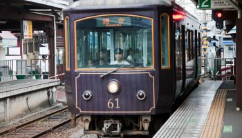 A train of the Enoshima Electric Railway (or Enoden) arriving at Enoshima Station.