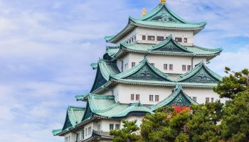 Nagoya, Japan - November 21 2013: Nagoya Castle was built by Ieyasu Tokugawa between 1610 - 1612, burnt down in WWII and reconstructed in 1957