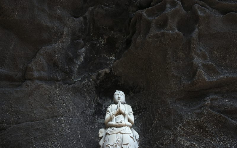 Chiba-ken ,Japan - April 24, 2014: It's a precinct in the temple which is called Japan temple in Nokogiriyama where it's in Chiba-ken in Japan, and there are 1500 stone Buddhist images.