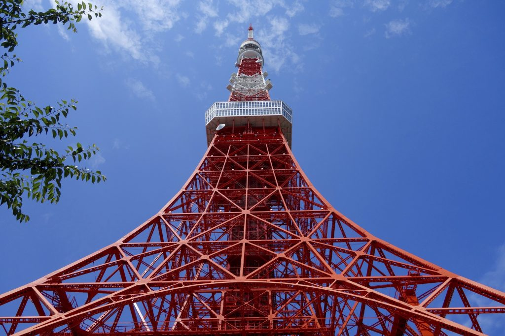 Tokyo Tower seen from the bottom