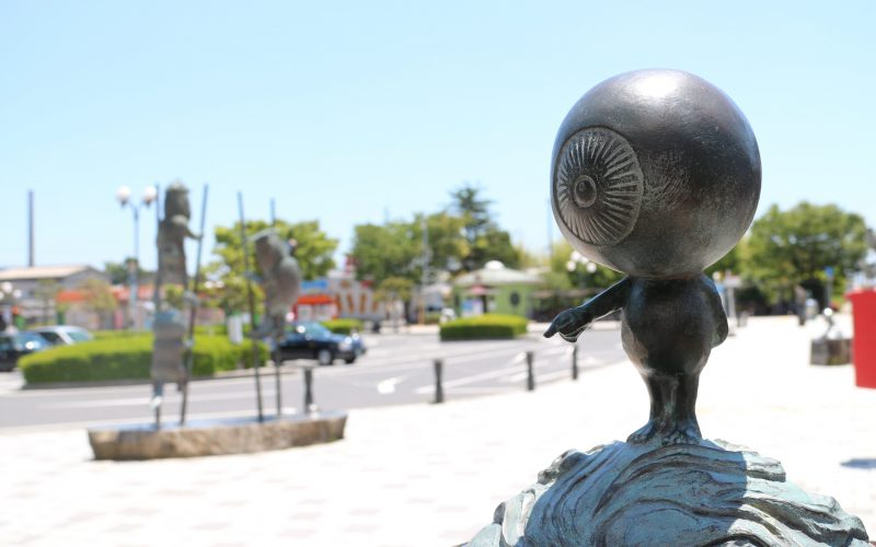 Statue if Medama-Oyaji outside Sakaiminato station.