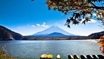 Japan landscape with Mount Fuji - Lake Shoji (Shojiko) and the famous volcano. Part of Fuji Five Lakes in Fuji-Hakone-Izu National Park