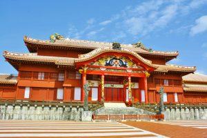 The Shuri Castle in Okinawa, Japan was a capital of Ryukyu kingdom.