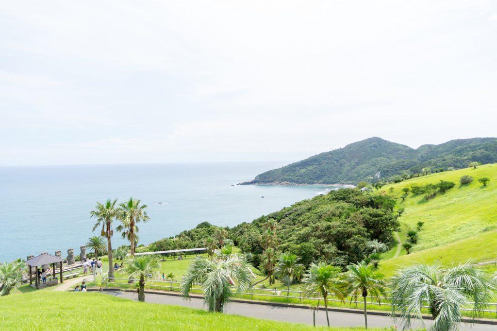 View to the ocean from Sun Messe Nichinan theme park Miyazaki.