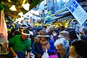 Ameya Yokocho market in between Ueno Station and Okachimachi Station.