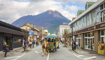 Oita, Japan - November 29, 2014: The main shopping street of Yufuin in Oita, Japan.