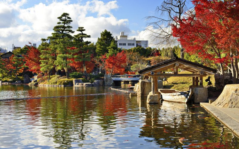 Nagoya, Japan - November 27, 2012: Ryusenko Lake at Tokugawa Gardens. The garden dates from the early Edo period and was opened to the public in 1932.