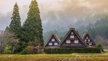Traditional and Historical Japanese village Shirakawago in autumn season